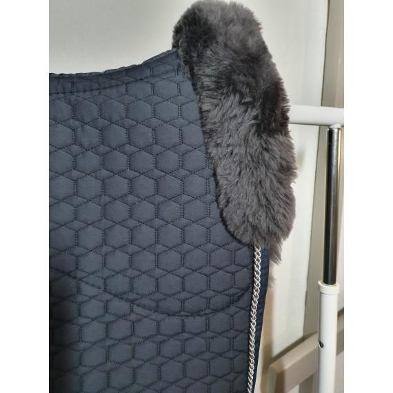 Mørk grå Quilt stoff med Mørk grå ull